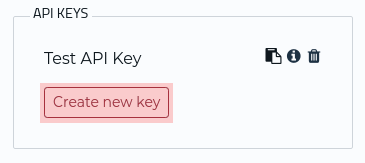 API Key section of account page